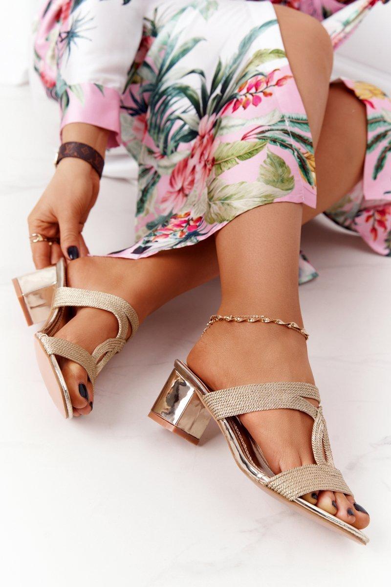 Heeled Slippers Patent Gold Carmen