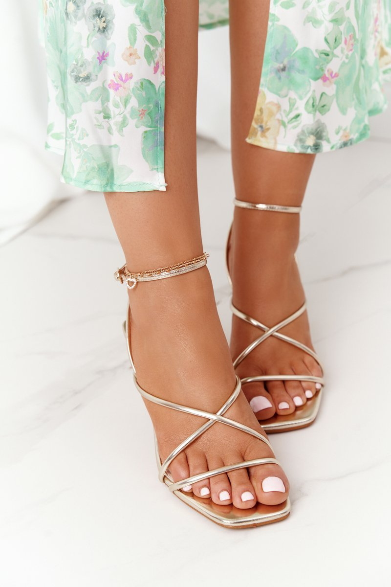 High Heel Sandals With Square Toe S.Barski C420-11 Gold