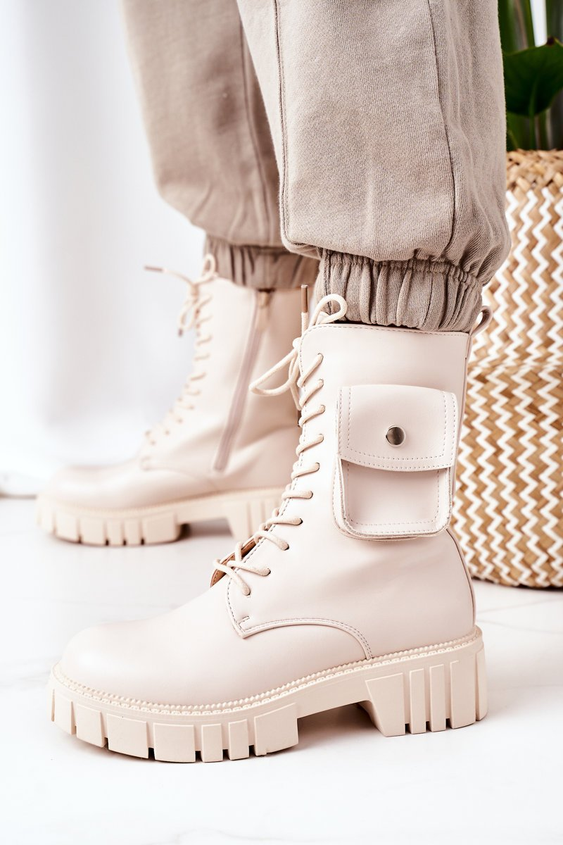 Insulated Boots With A Pocket Beige Awesome