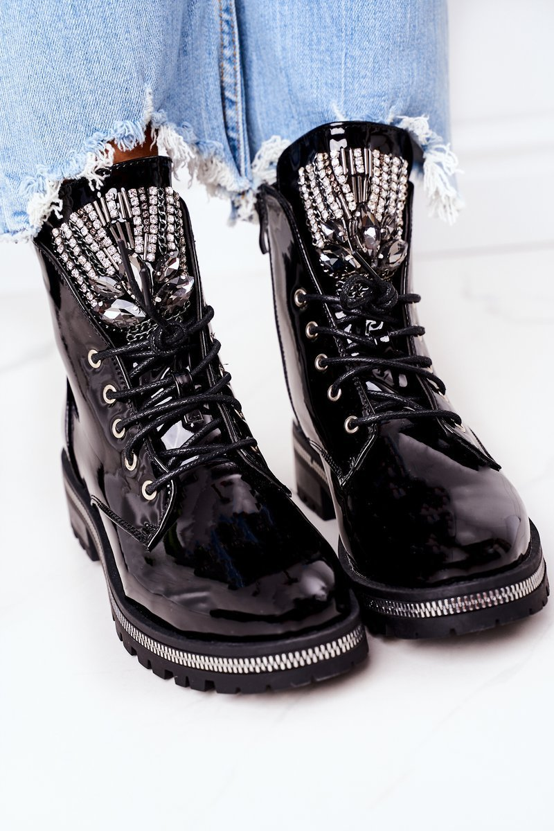 Insulated Boots With Cubic Zirconia Patent Black Attention