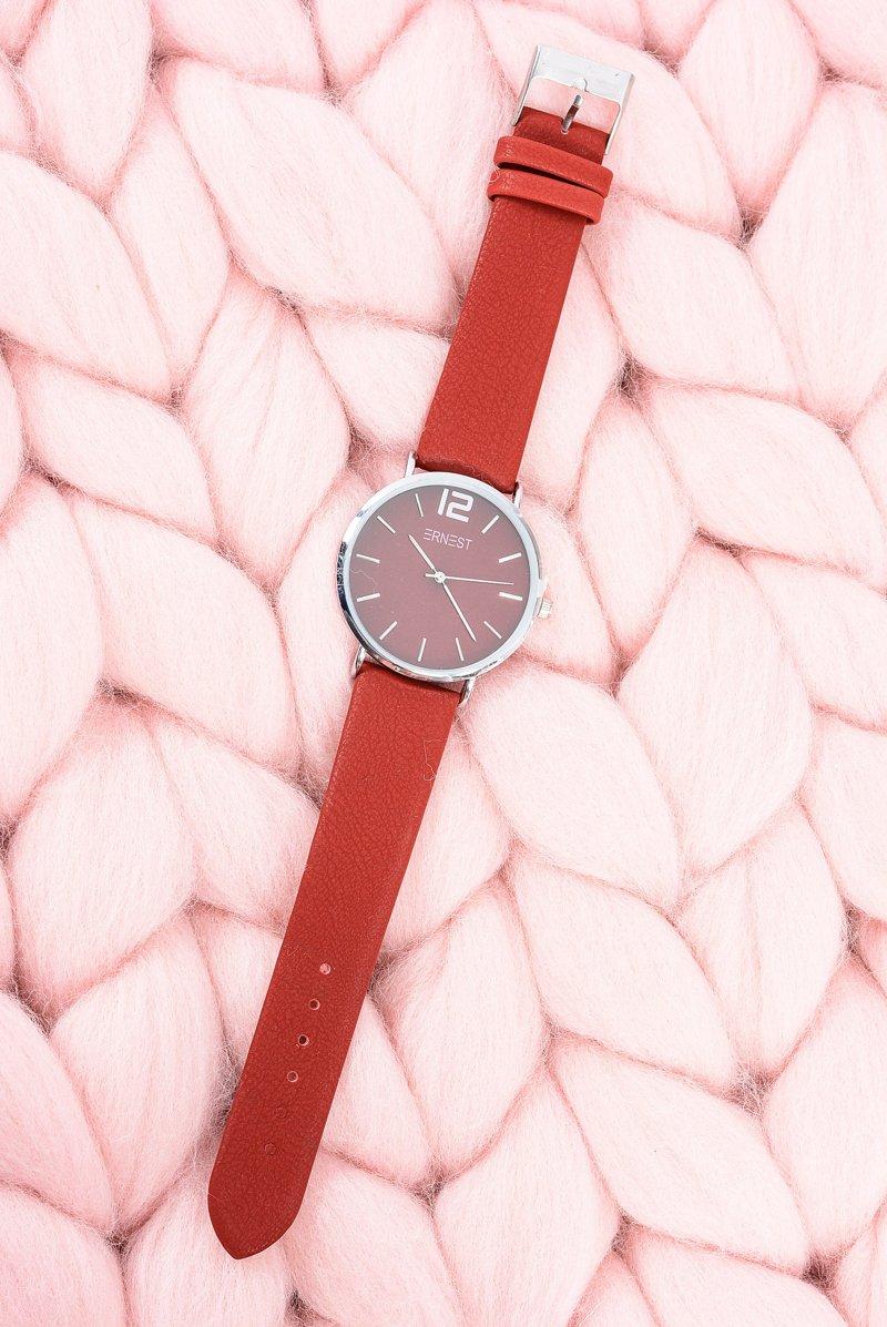 Klasyczny Skórzany Bordowy Damski Zegarek Ernest