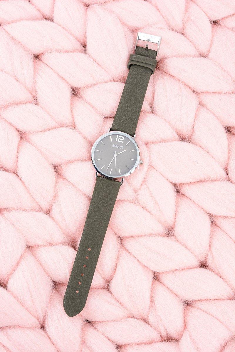 Klasyczny Skórzany Oliwkowy Damski Zegarek Ernest