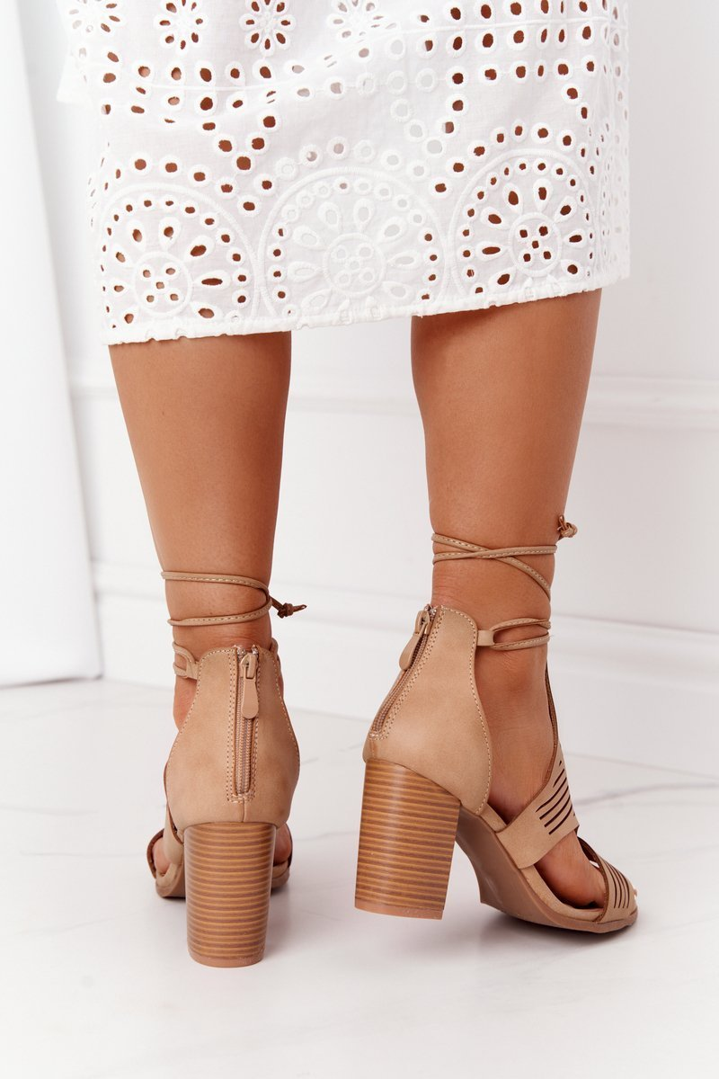 Lace-Up Openwork Sandals On A Block Heel Beige Lorette