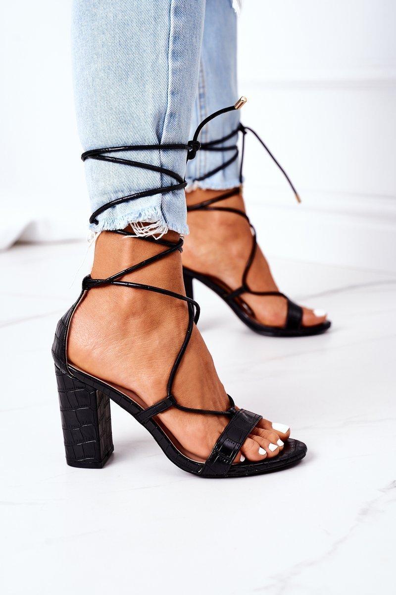 Lace-up High Heel Sandals Black Catwalk