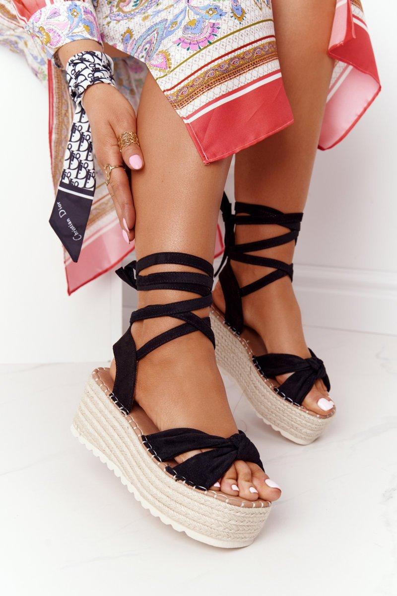 Lace-up Sandals On A Braided Platform Black La Palma