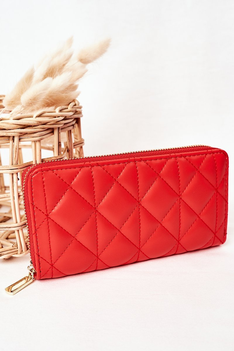 Large Quilted Women's Wallet Red