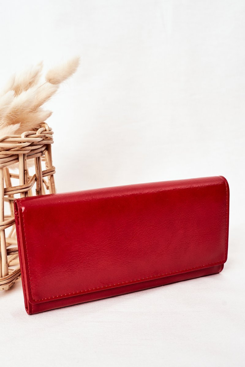 Large Women's Wallet With A Magnet Red