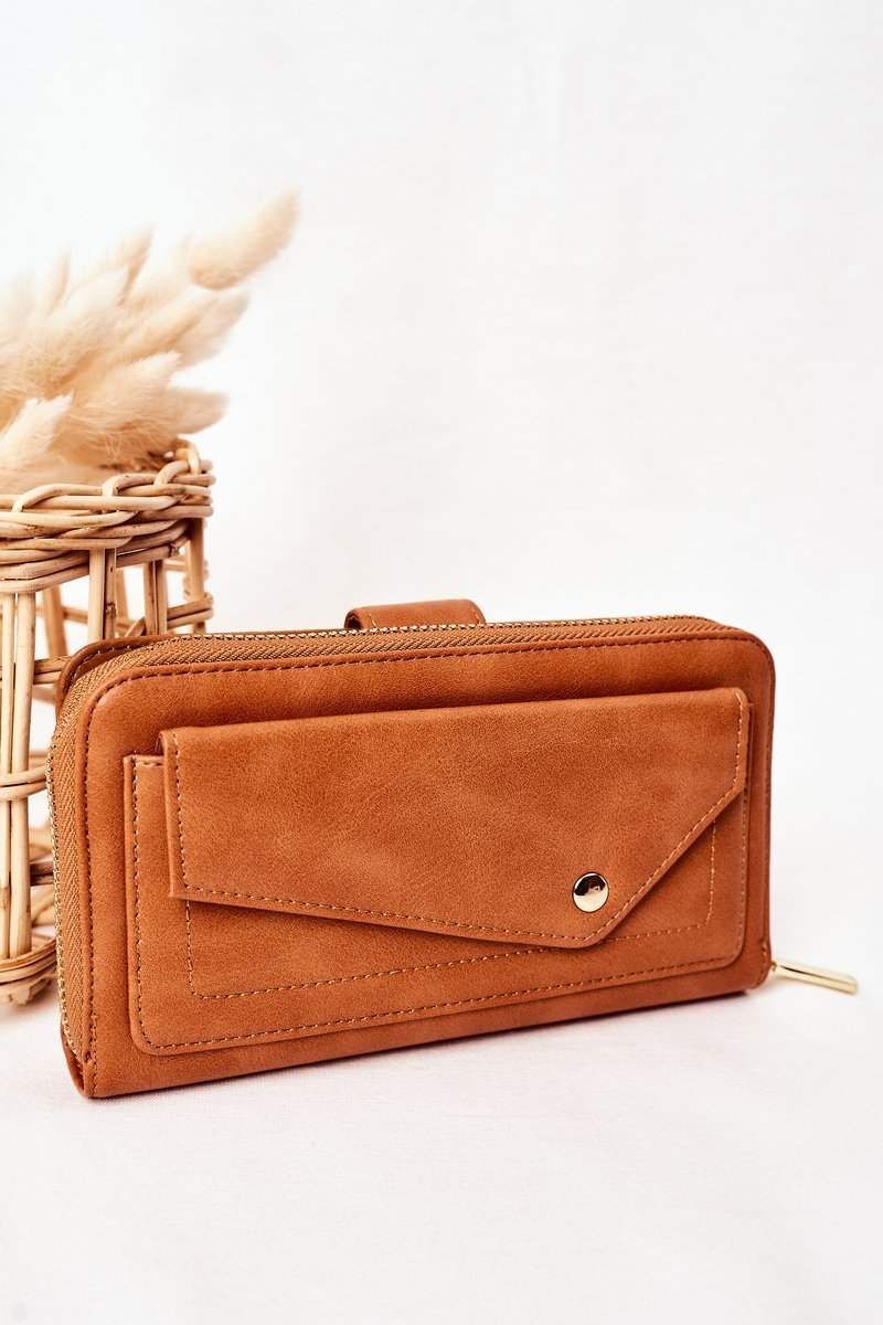 Large Women's Wallet With A Pocket Brown