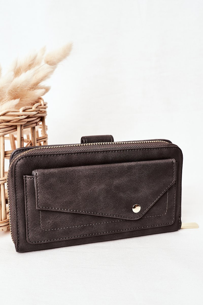Large Women's Wallet With A Pocket Grey