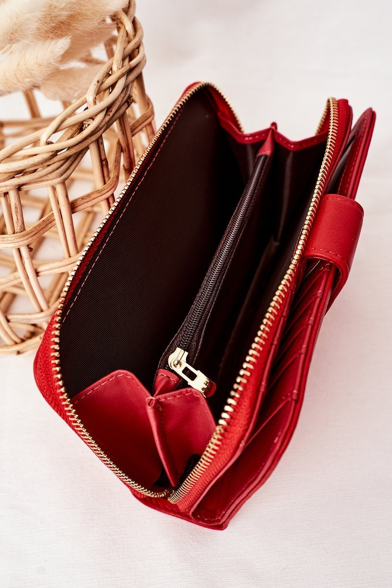 Large Women's Wallet With A Pocket Red