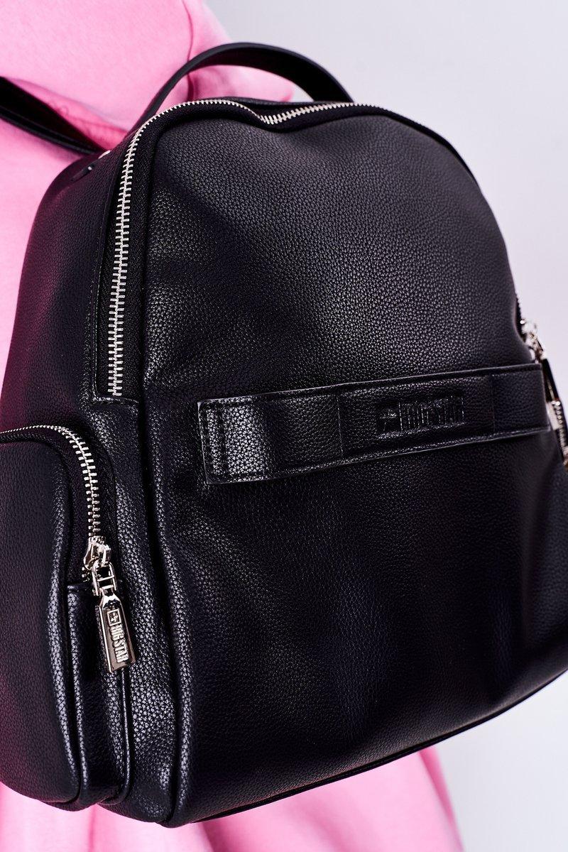 Leather Backpack / Kidney Bag 2in1 Big Star HH574056 Black