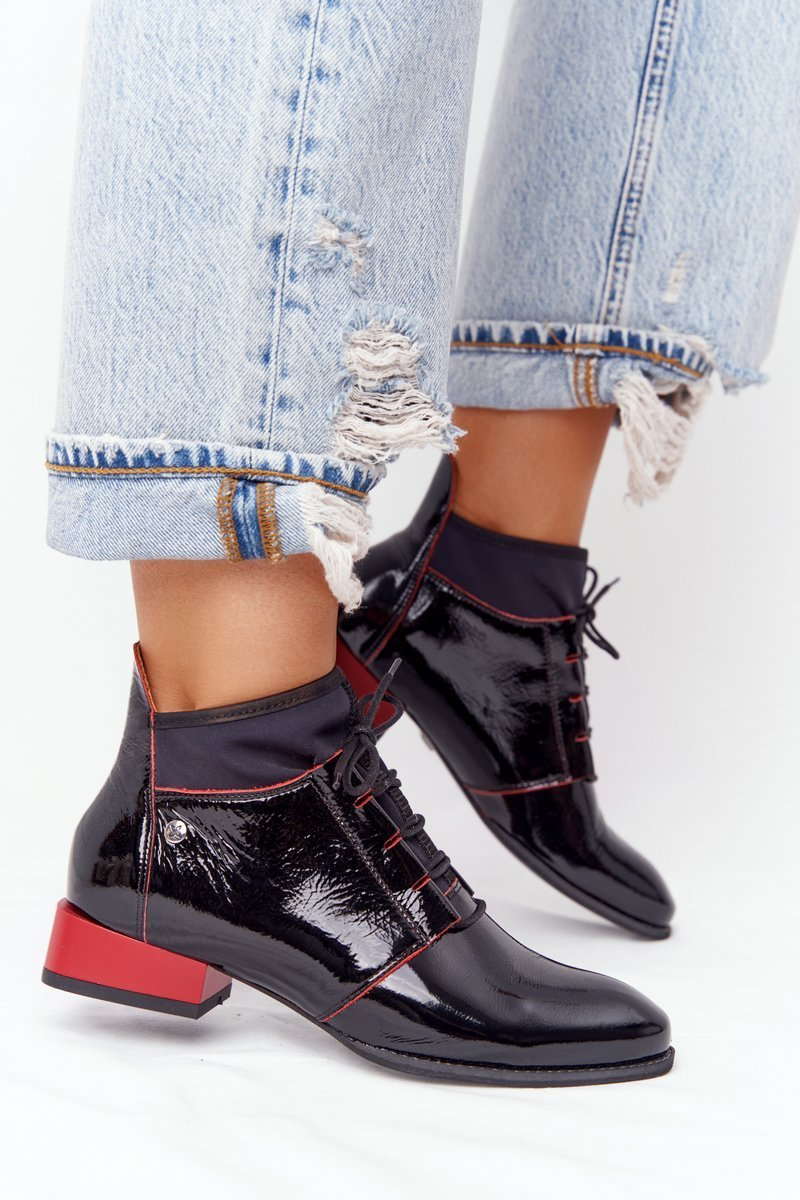 Leather Boots Maciejka 04744-16 Black-Red