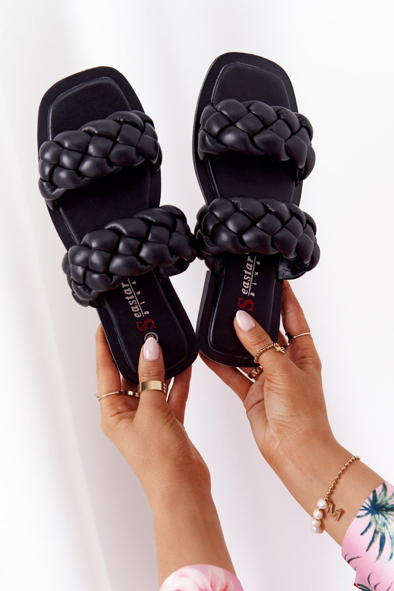 Leather Braided Slippers Black Love On Top