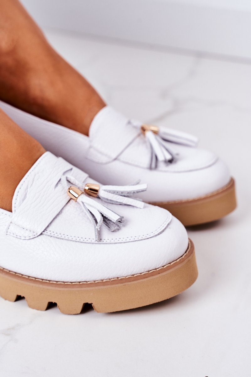 Leather Moccasins Lewski Shoes 3053 White