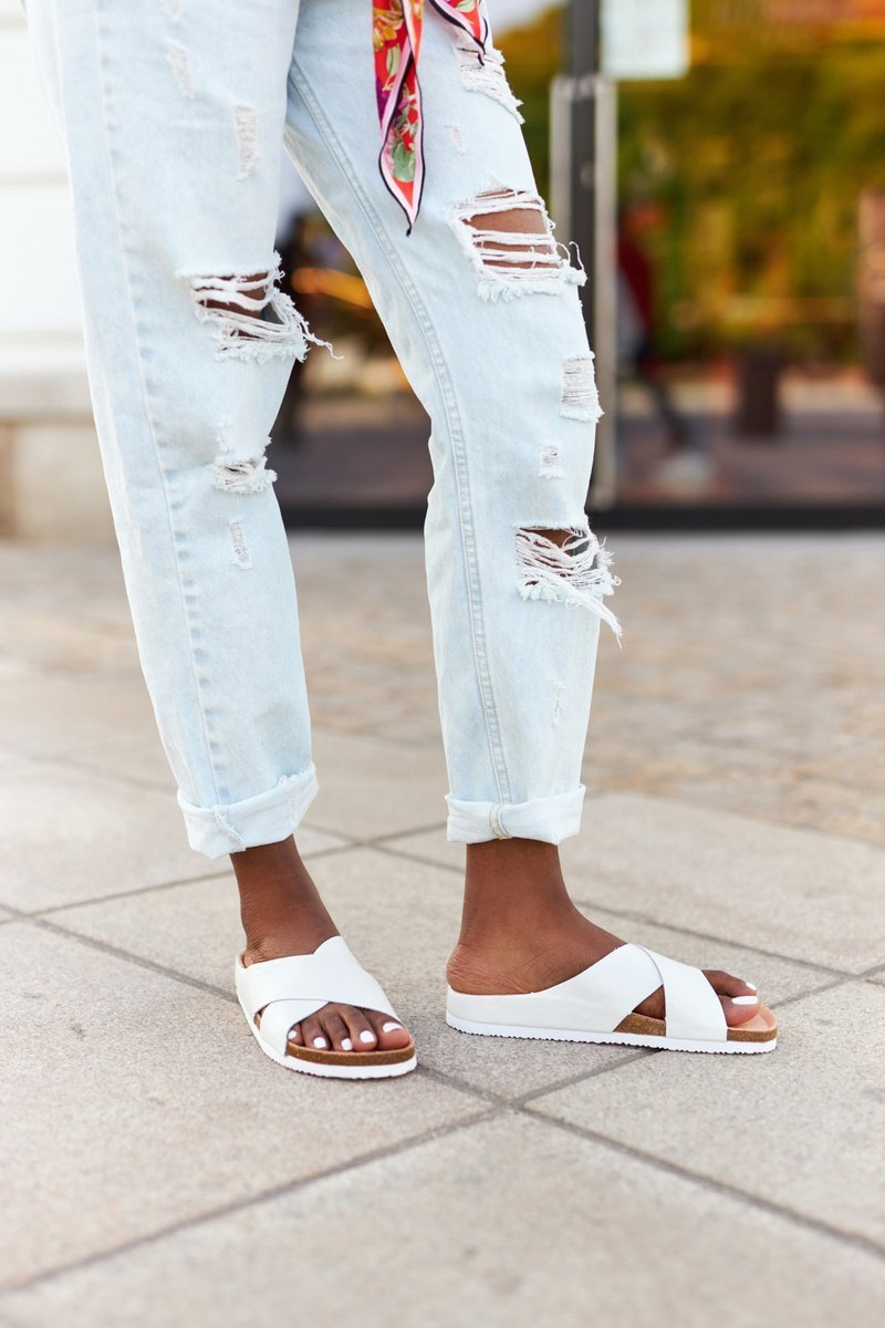 Leather Profiled Slippers Big Star HH274647 White