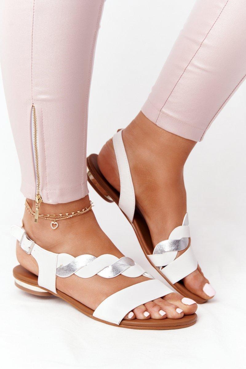 Leather Sandals Vinceza 21-17117 White-Silver