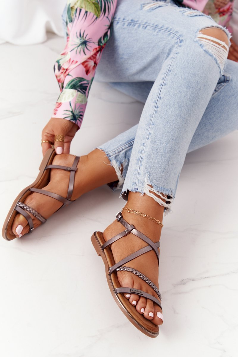 Leather Sandals With A Braid S.Barski 152-1 Pewter
