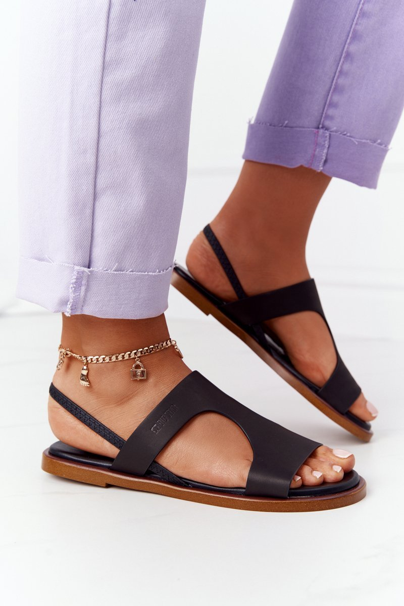 Leather Sandals With Drawstring Big Star HH274715 Black
