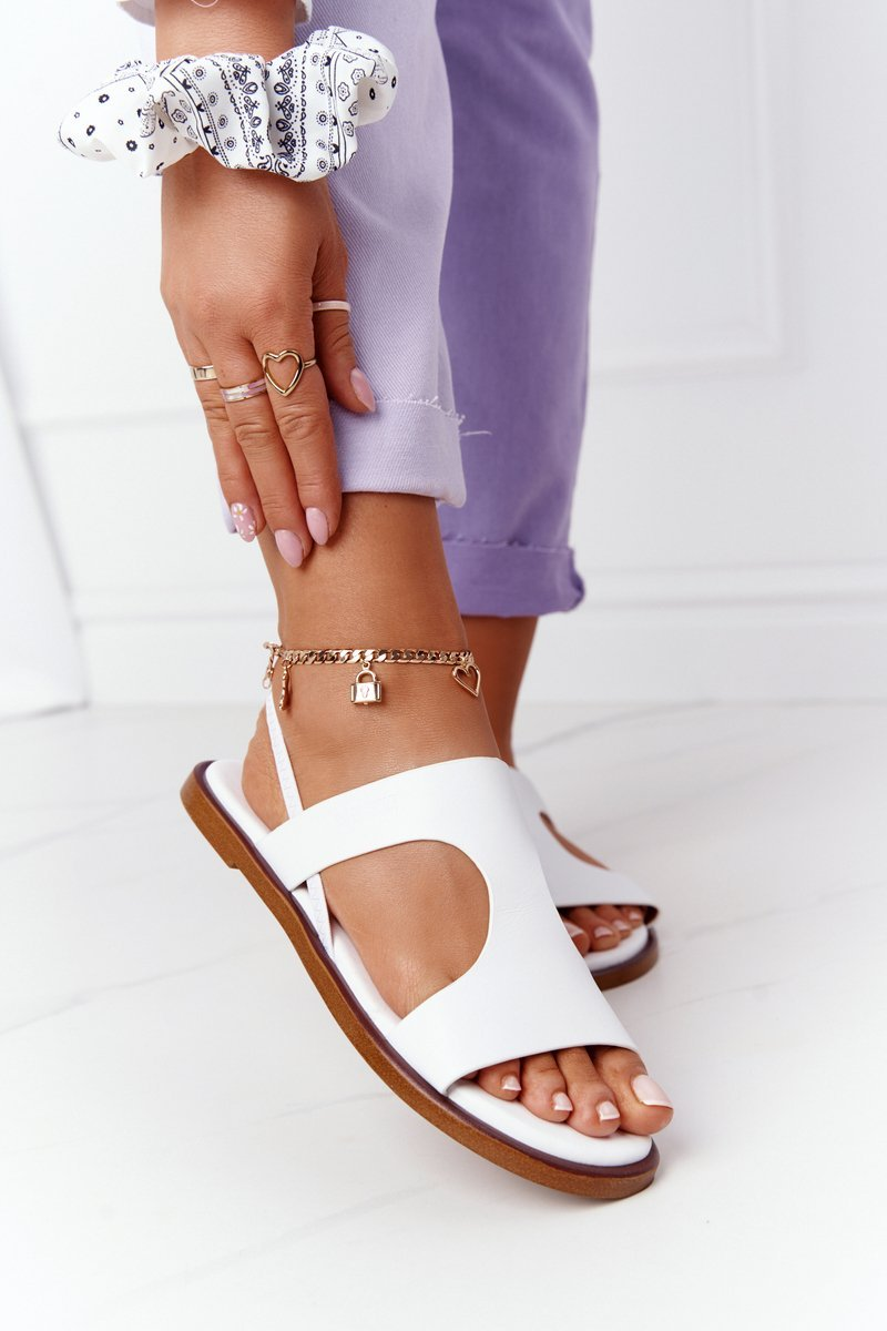Leather Sandals With Drawstring Big Star HH274717 White