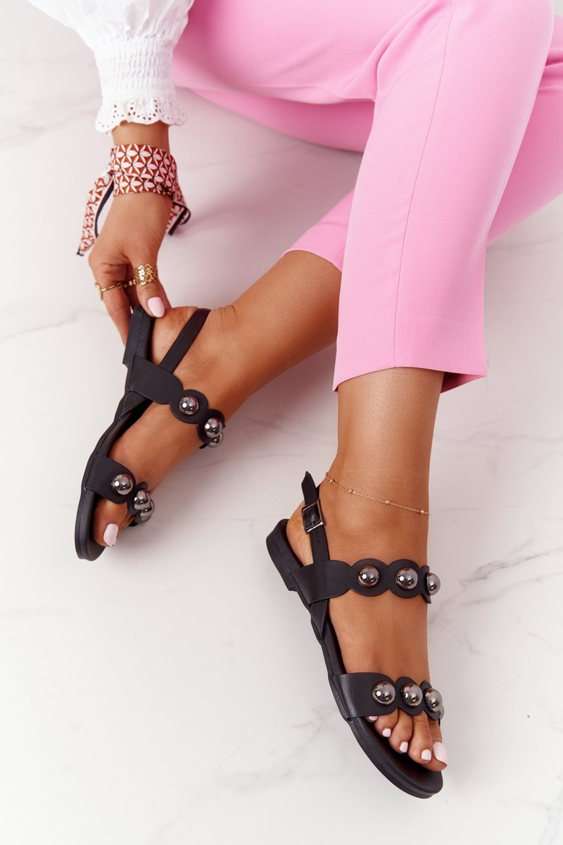 Leather Sandals With Studs S.Barski 541-52 Black