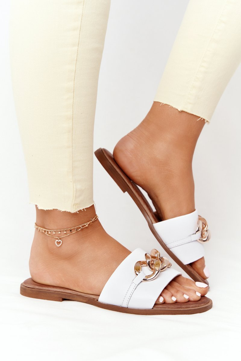Leather Slippers With Chain Nicole 2652 White