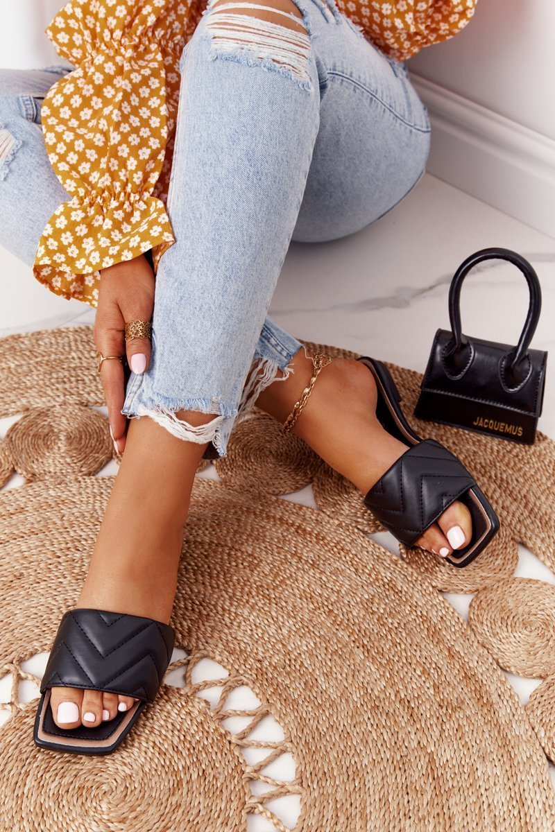 Leather Slippers With Quilting S.Barski 331-42 Black
