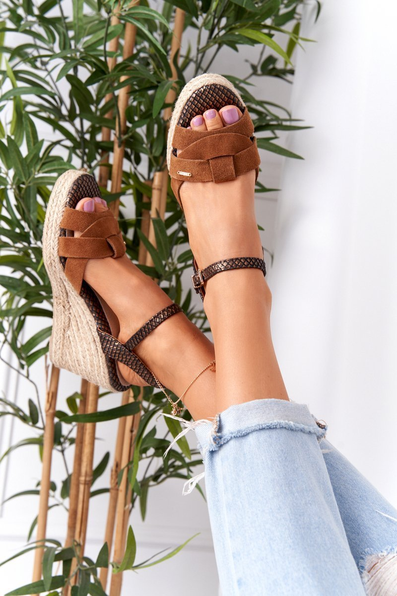 Leather Wedge Sandals Big Star HH274377 Brown