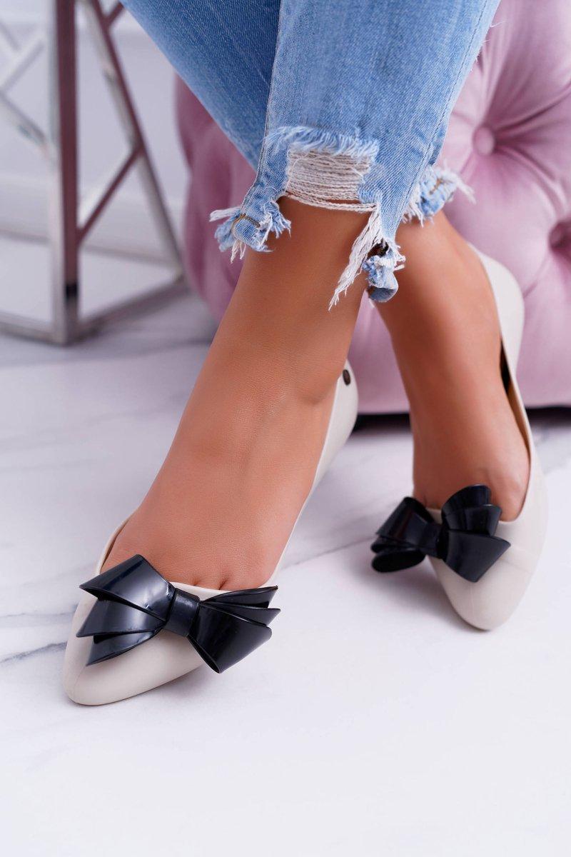 Lu Boo Beige / Black Rubber Ballerinas Big Bow