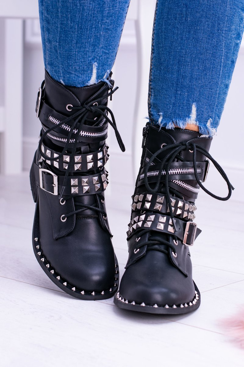 Lu Boo Black Ankle Boots with Studs