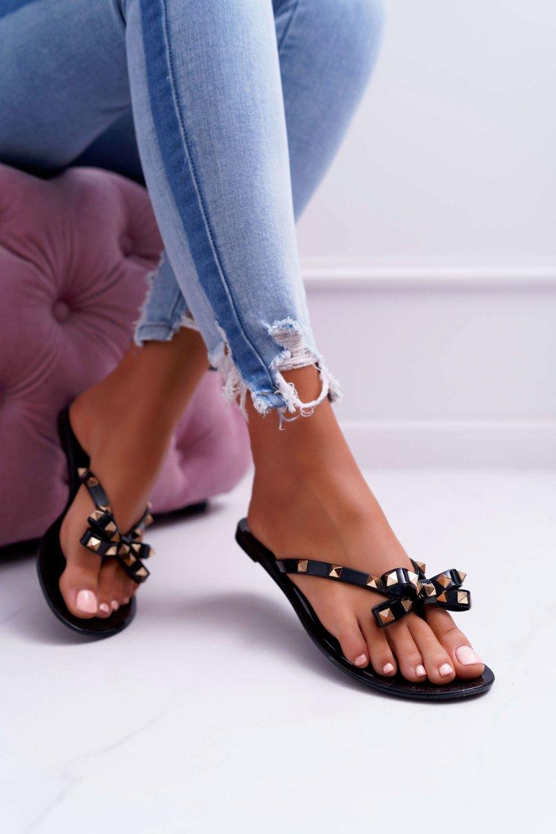 Lu Boo | Black Rubber Flip Flops with Rocky Studs