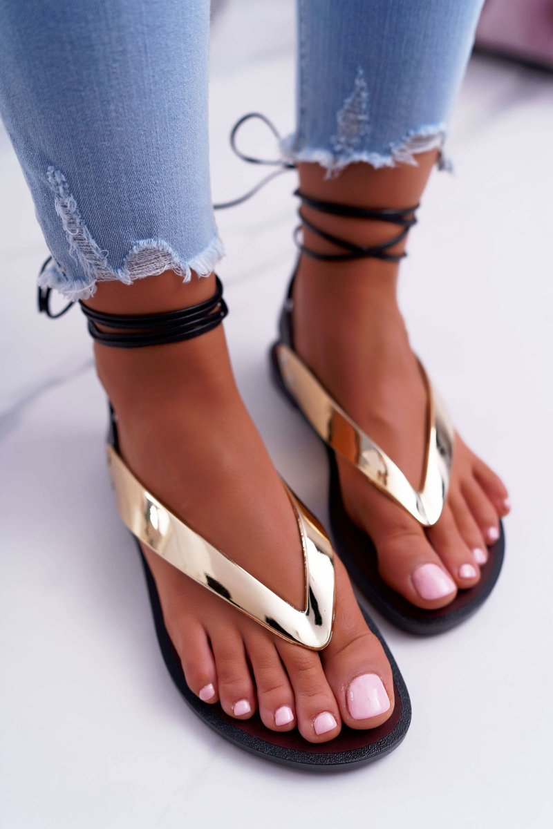 Lu Boo Gold Tied Japanese Sandals Florence