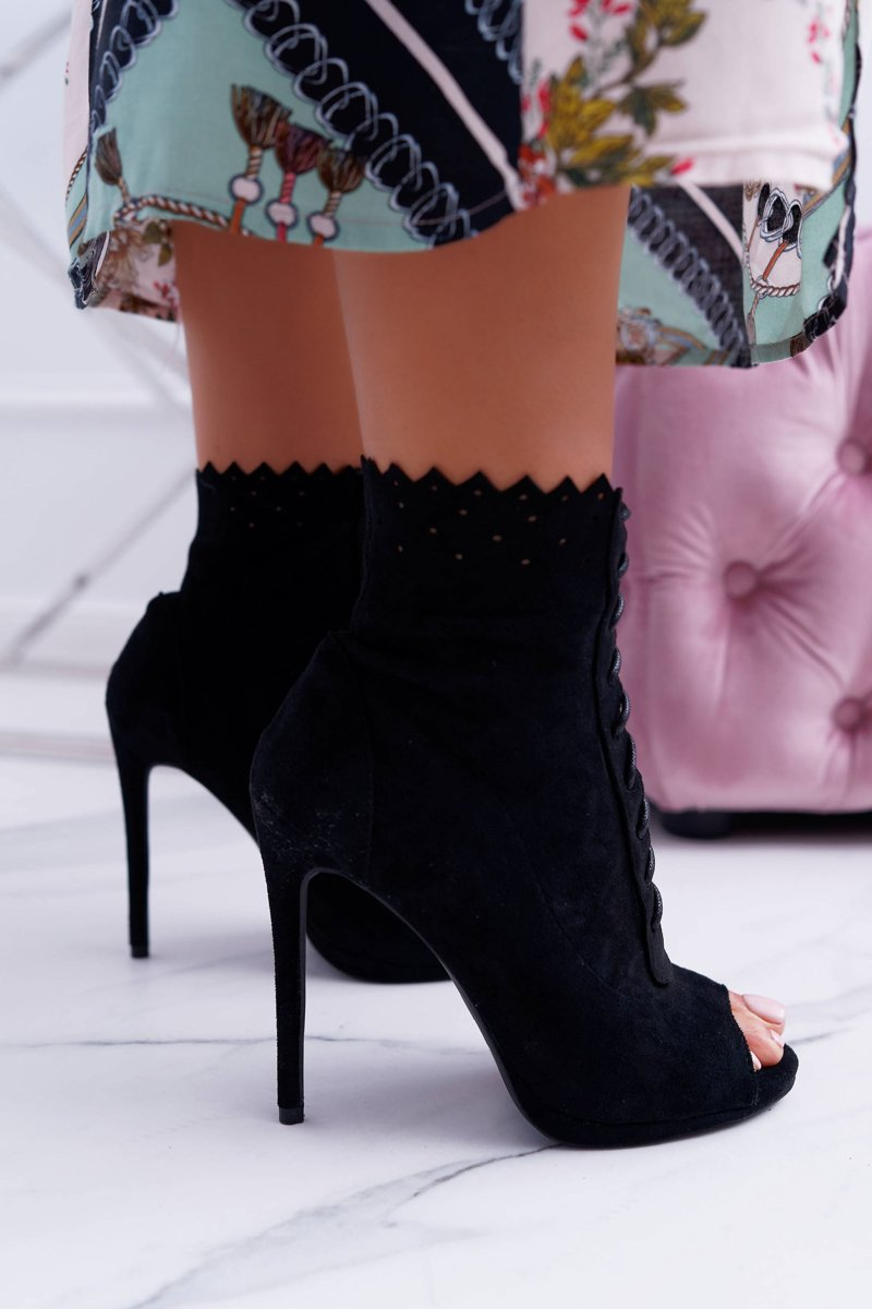 Lu Boo Laced Black Booties Sandals On High Heels Natasha