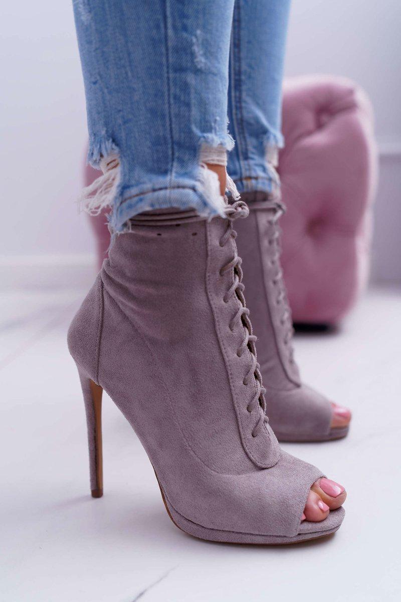 Lu Boo Laced Grey Booties Sandals On High Heels Natasha