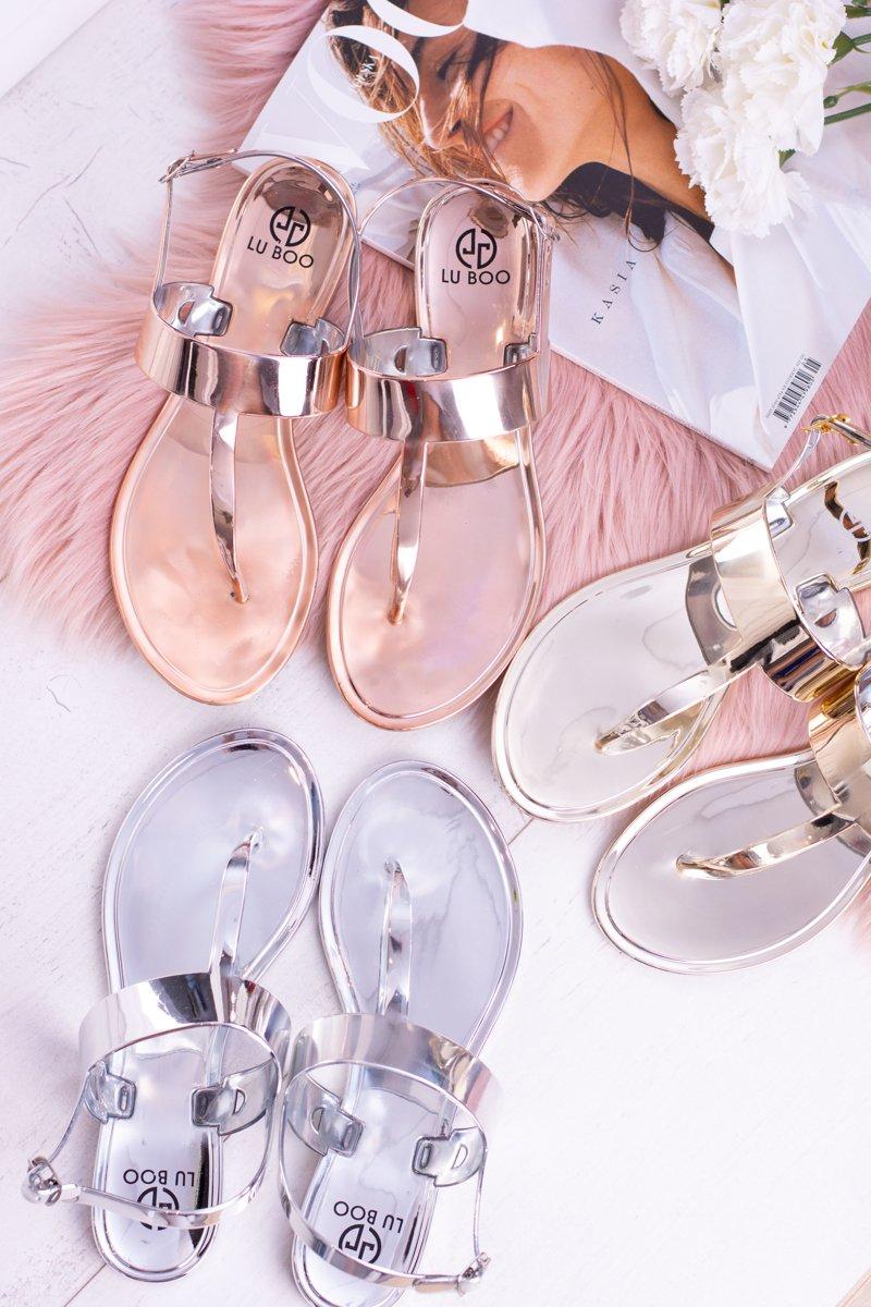 Lu Boo   Mirrored Sandals Golden Rose Flip-flops II-CAT Nora