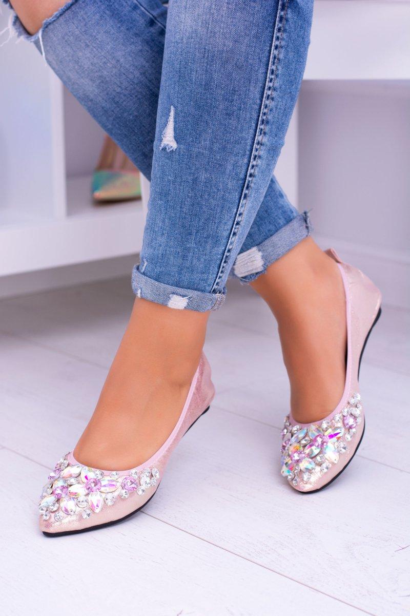 Lu Boo Pink Ballerinas Zircons Stones Even