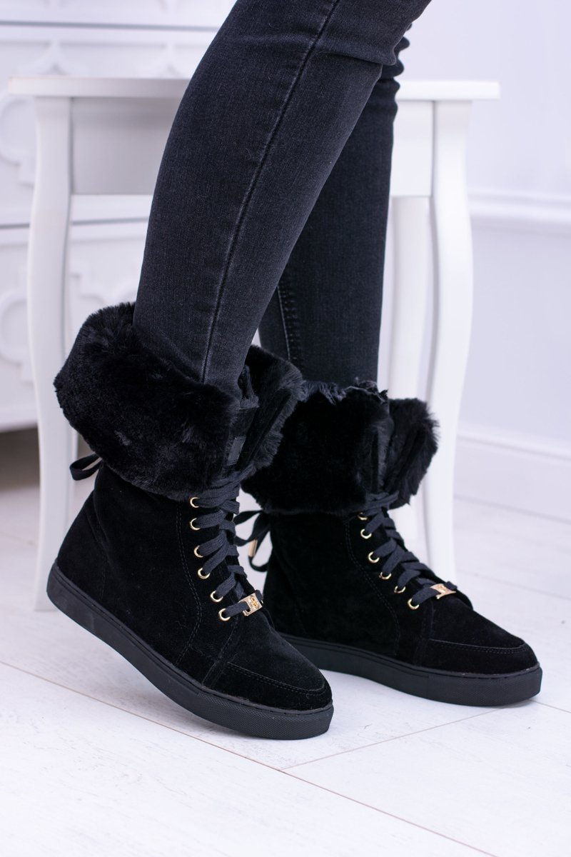 Lu Boo Warm Black Suede Women's Boots With Fur