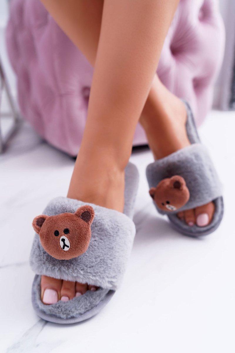 Lu Boo Women Plush Grey Flip-flops With Teddy