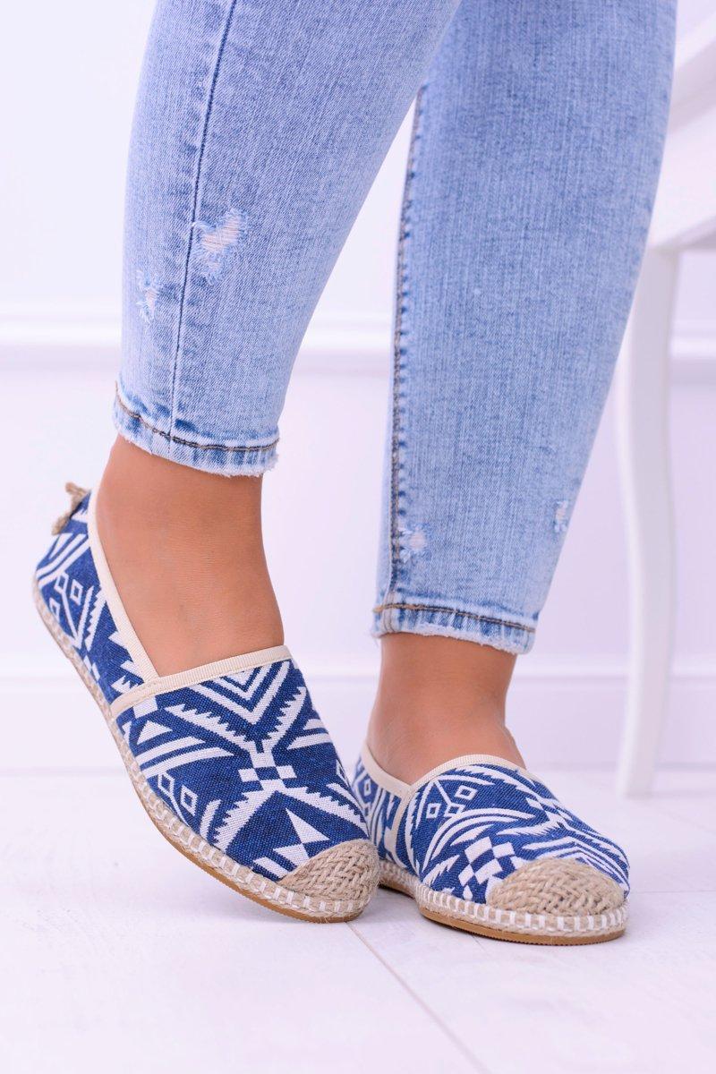 Lu Boo   Women's Blue Slip Linen Espadrilles Bimbi