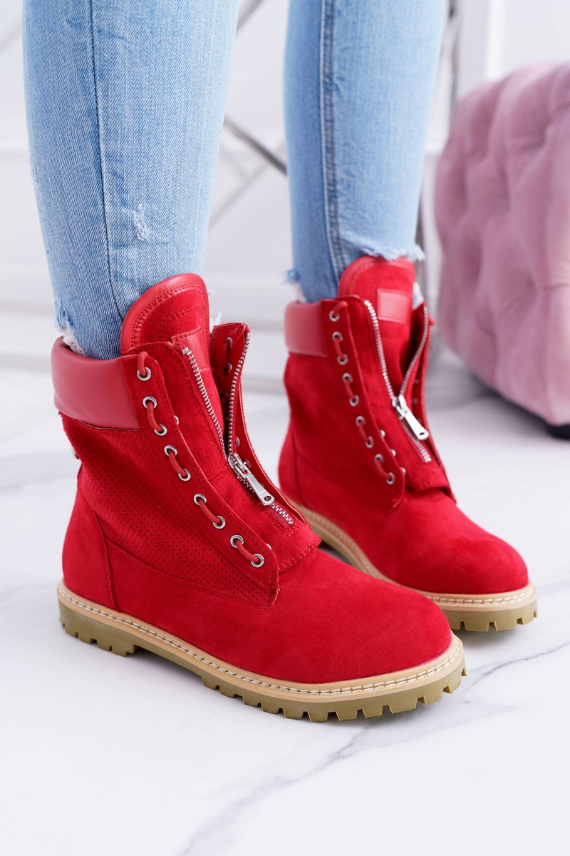 Lu Boo Women's Red Suede Boots Nancy