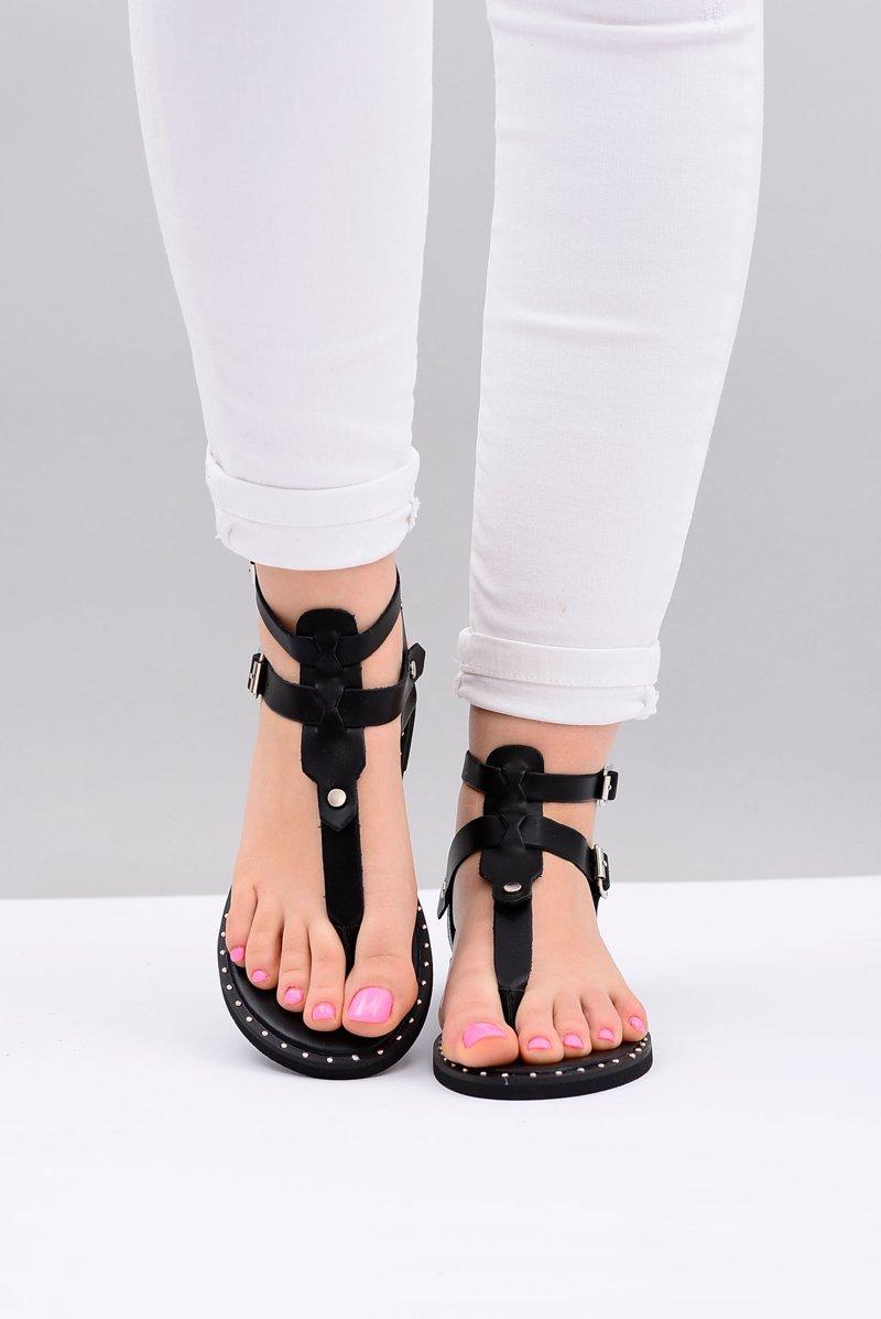 Lu Boo | Women's Sandals Black Japanese Gladiators Achilla