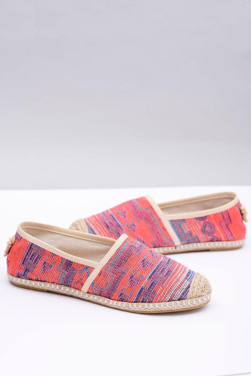 Lu Boo | Women's Slip Linen Espadrilles Aztec Coral Bimbi
