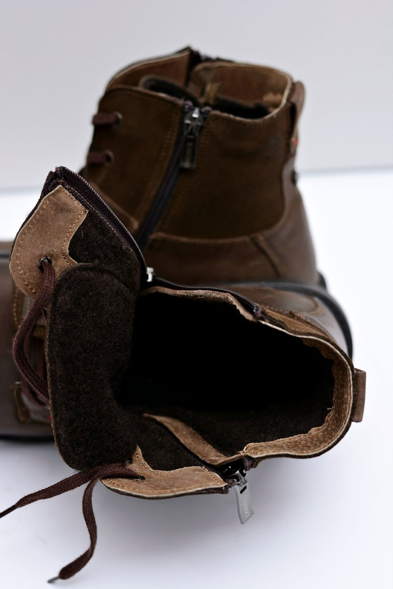 Men's Boots Brown Leather With Zipper KOMODO 871