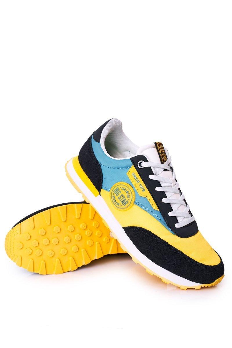 Men's Sport Shoes Memory Foam Big Star HH174249 Yellow-Blue