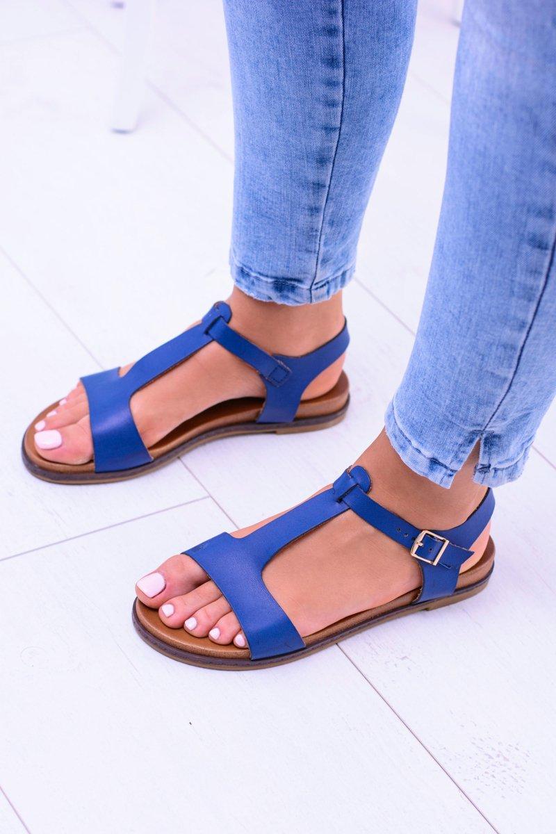 Navy Blue Flat Sandals Sunnyside