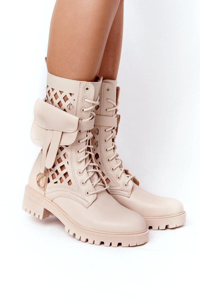 Openwork Boots With A Purse Beige Rock Star