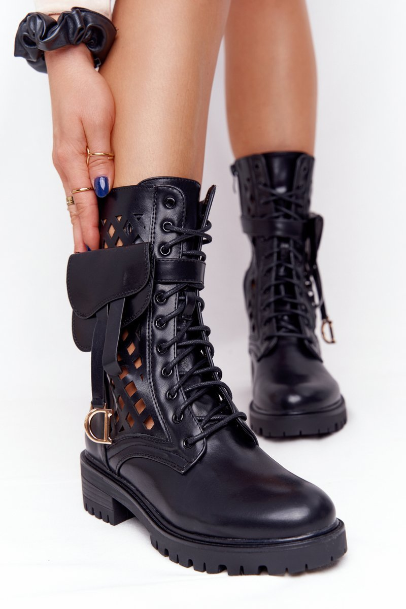 Openwork Boots With A Purse Black Rock Star