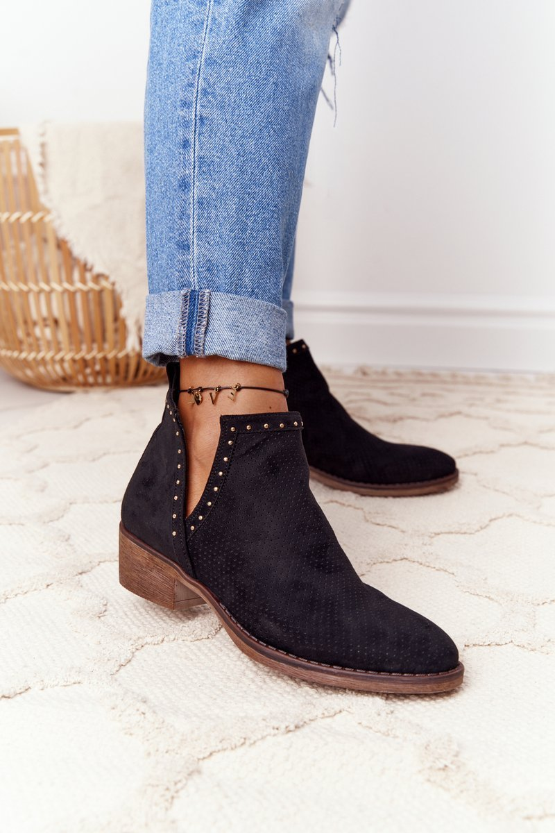 Openwork Boots With Cutouts Black Clever