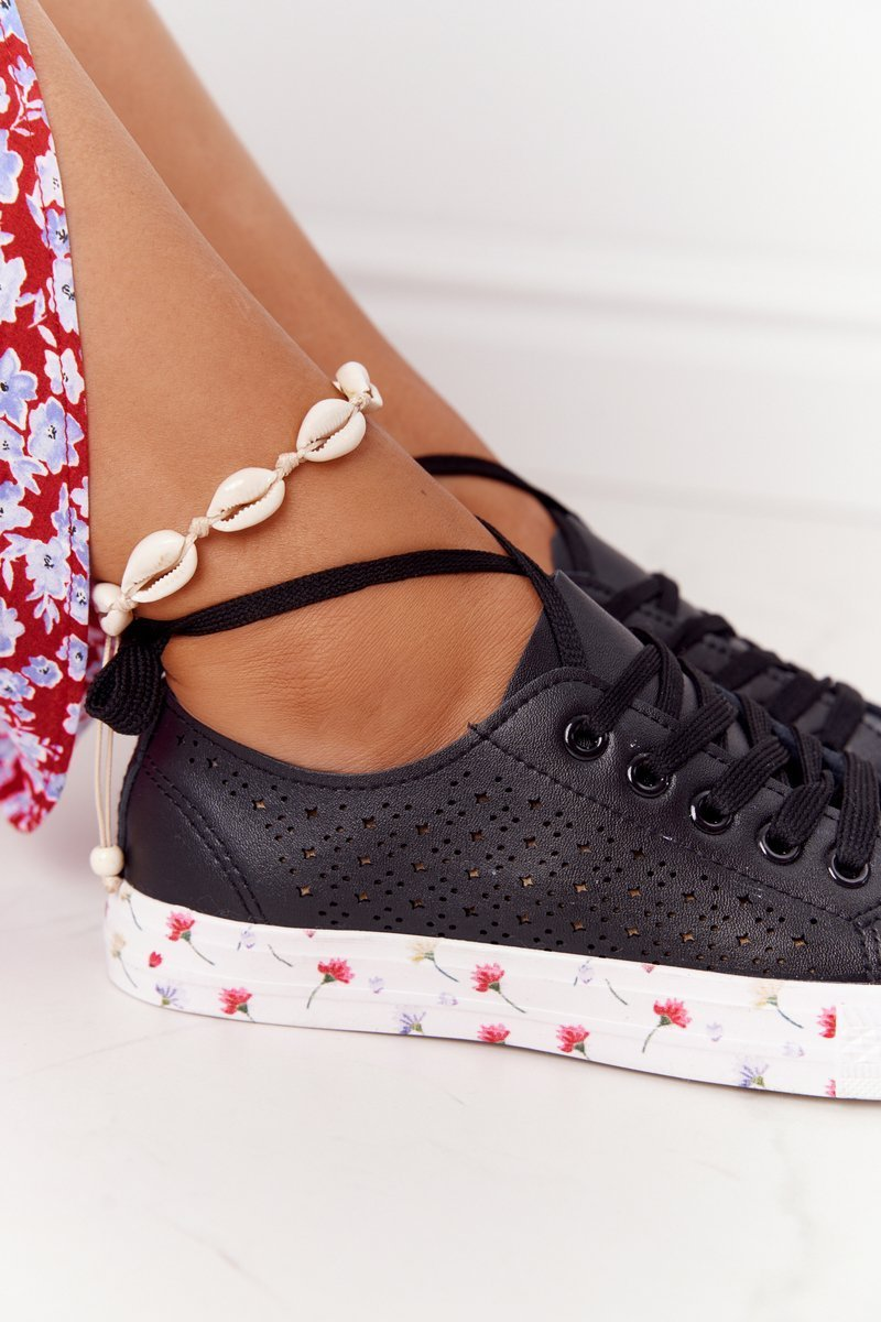 Openwork Leather Sneakers With Flowers Black Spring
