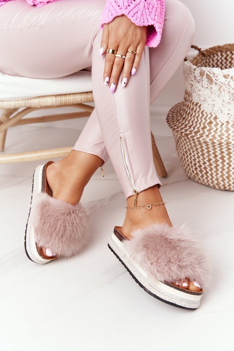 Platform Slippers With Eco Fur Beige Adventure