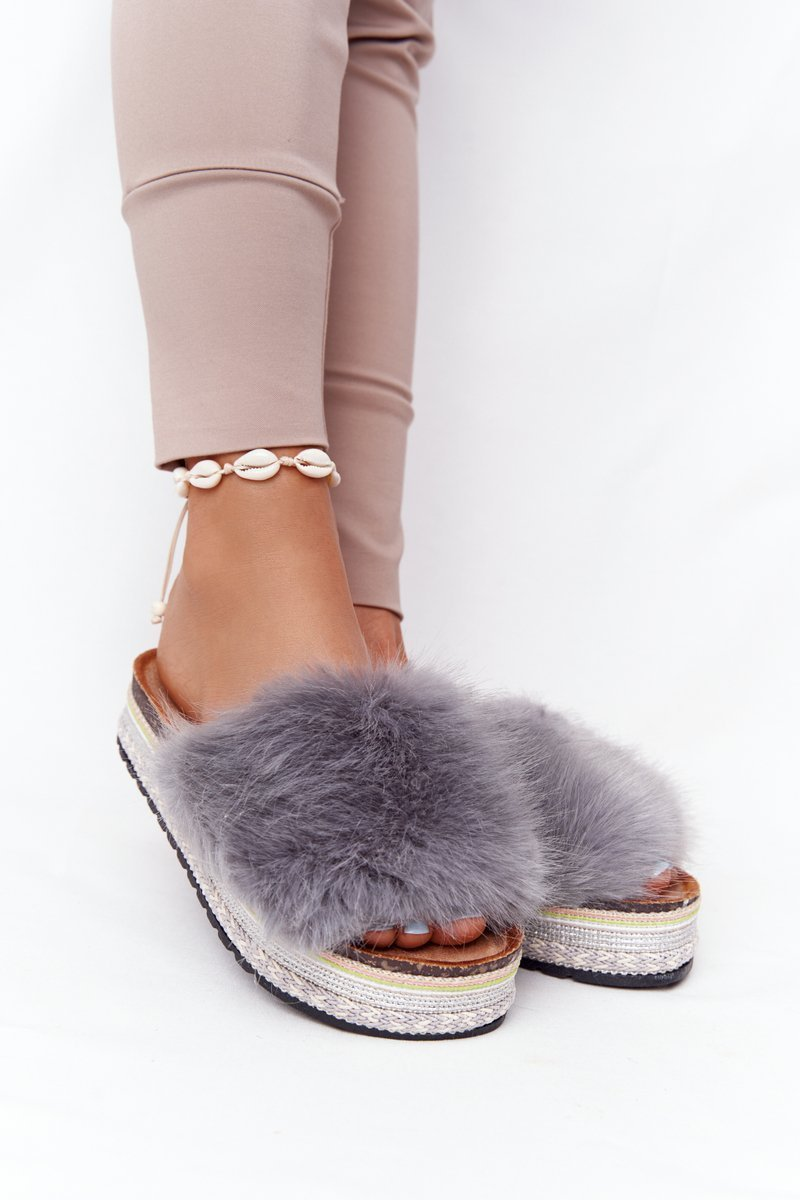 Platform Slippers With Eco Fur Grey Adventure